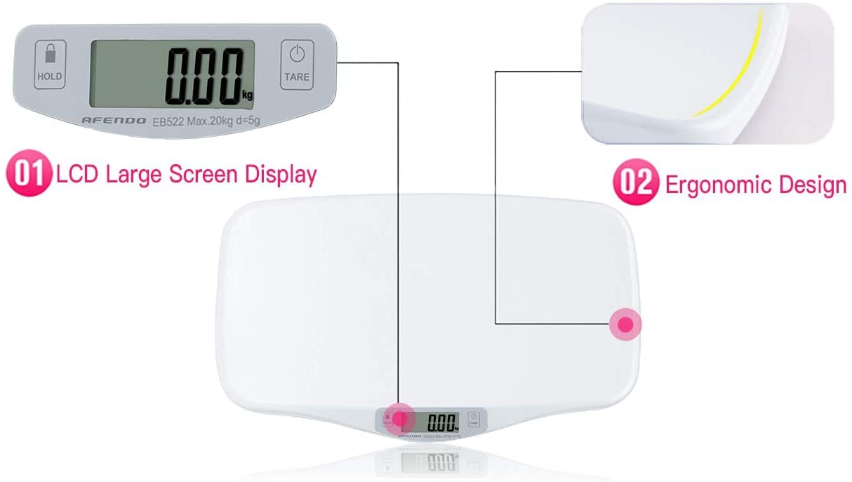 AFENDO Electronic Digital Smoothing Infant, Baby and Toddler Scale -White