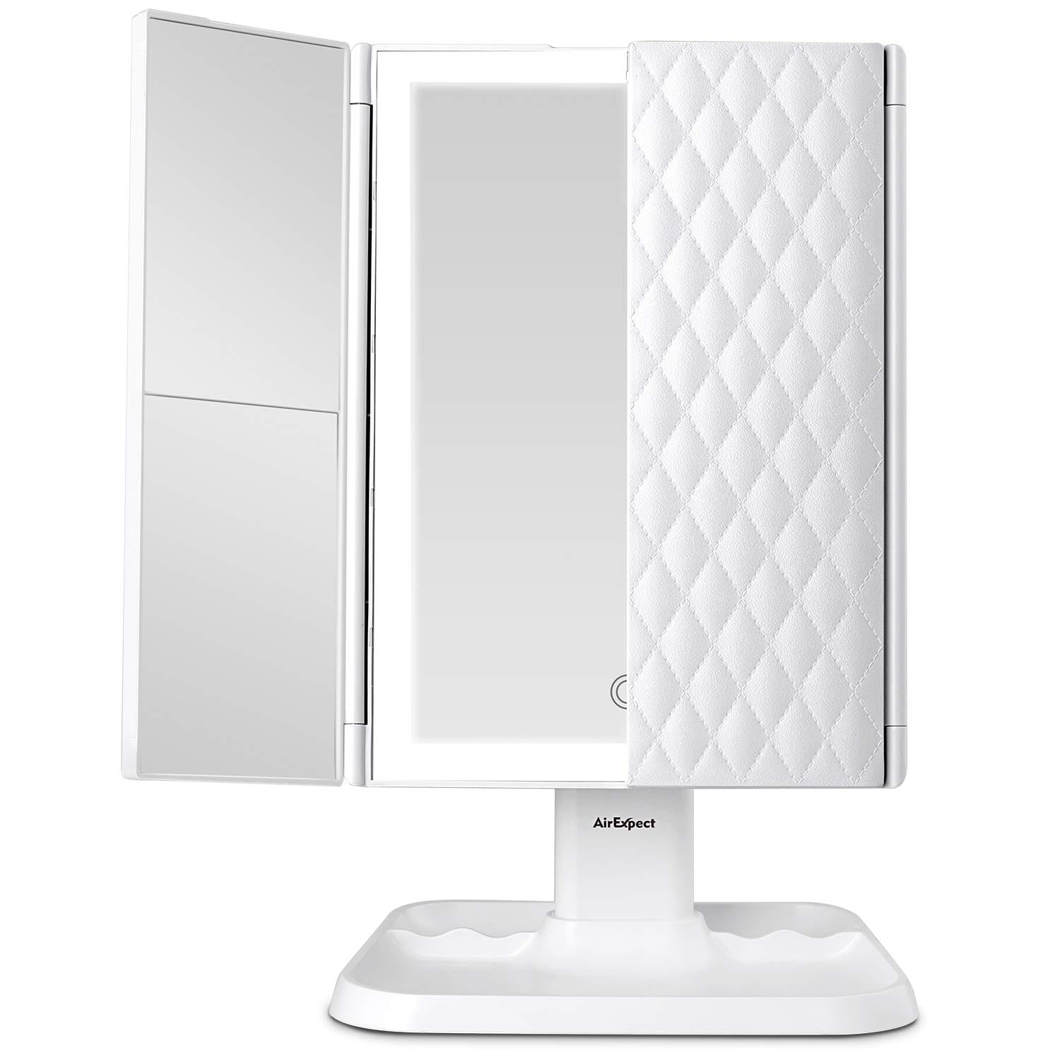 AirExpect Makeup Mirror Vanity Mirror with Lights - 3 Color Lighting Modes 72 LED Trifold Mirror