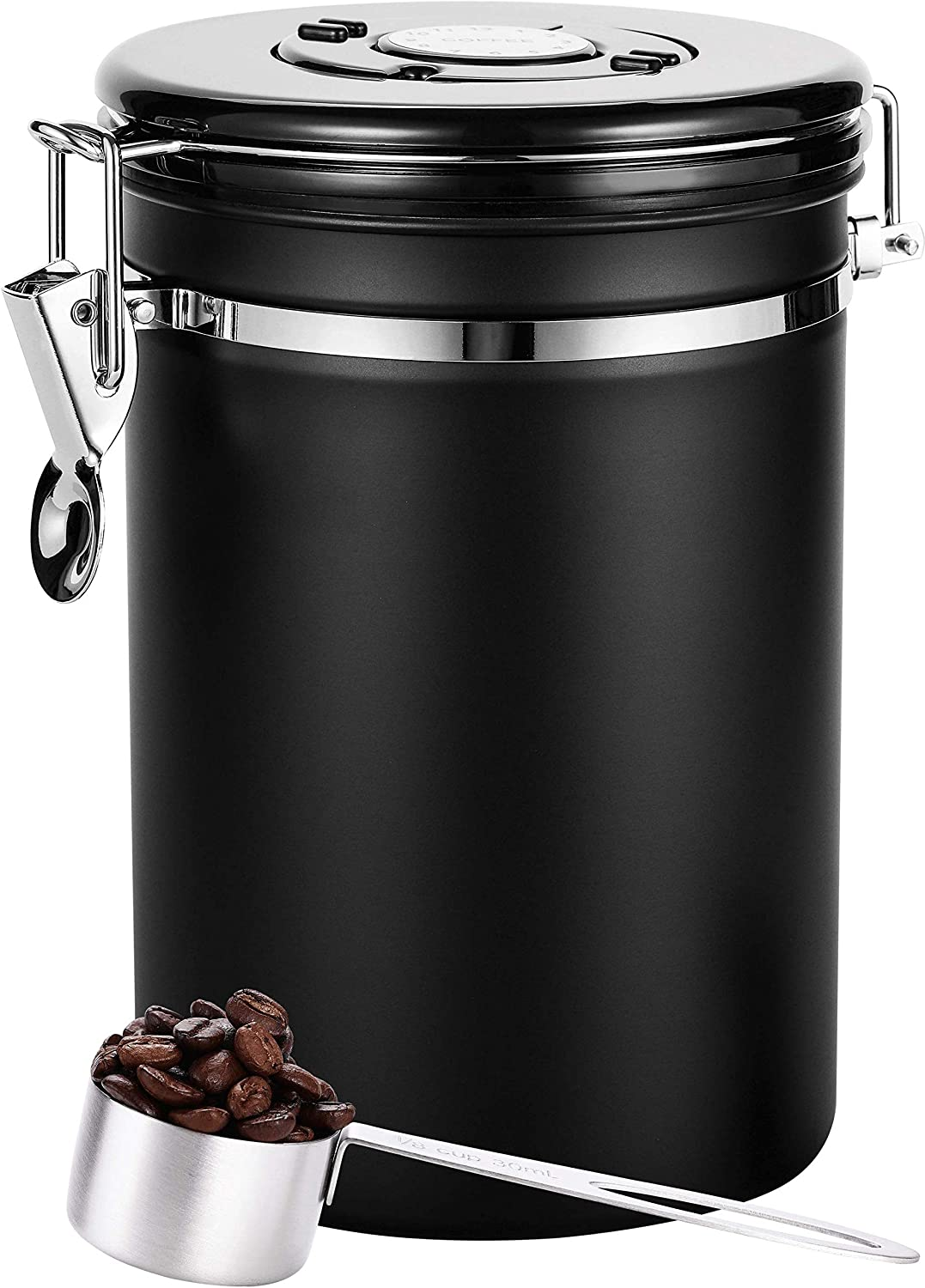 Coffee Canister Black Large,Airtight Coffee Canister With Scoop