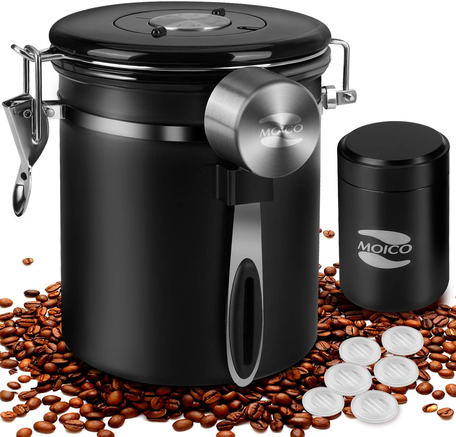 Coffee Container MOICO Coffee Stainless Steel Container-One Way Co2 Valve Airtight Coffee Canister with Coffee Scoop & Travel Jar(Black,16oz+0.65oz)