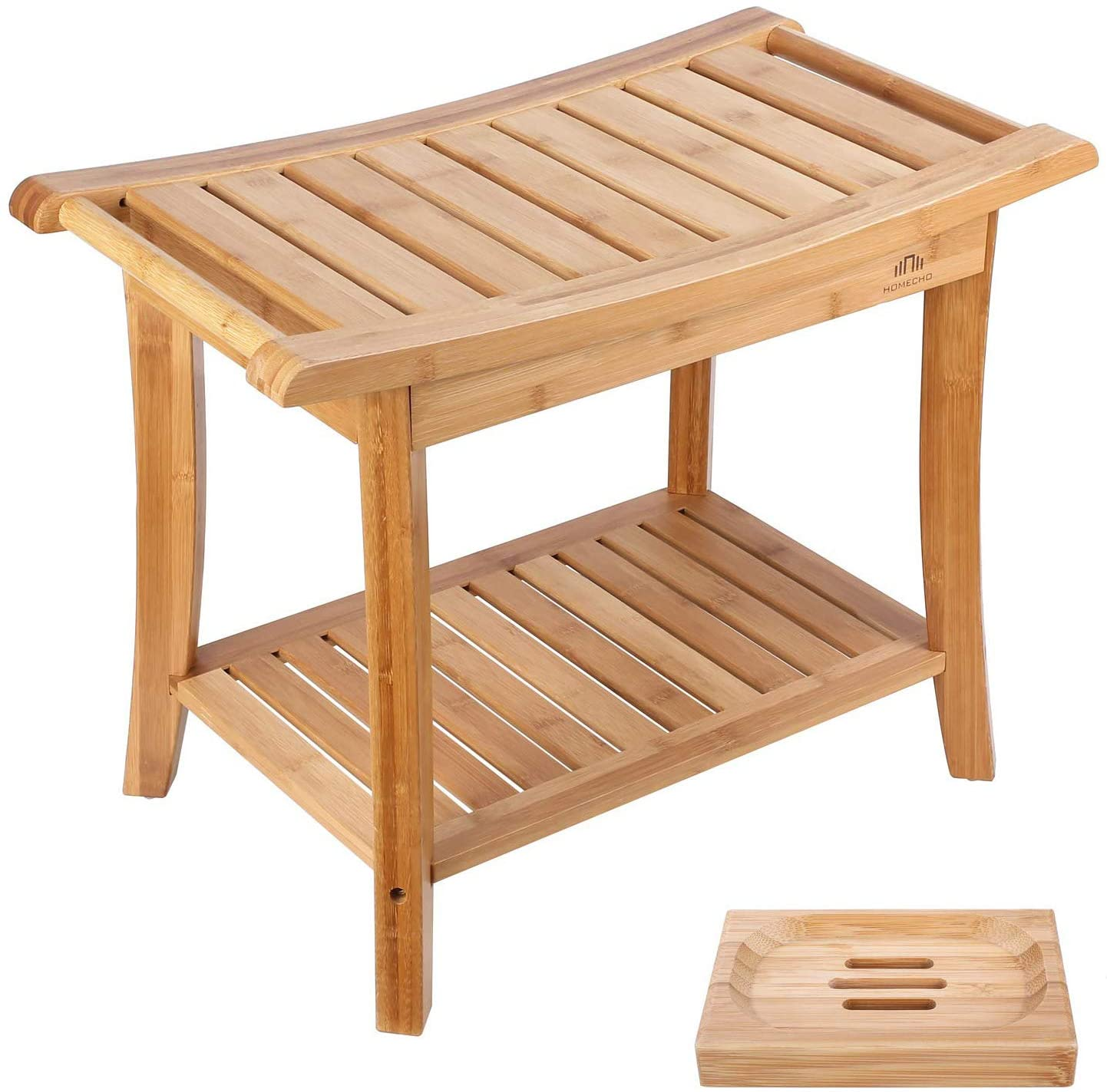 HOMECHO Bamboo Shower Bench Stool Seat with Shelves Waterproof Wooden Bath Spa Bathroom Storage Organizer