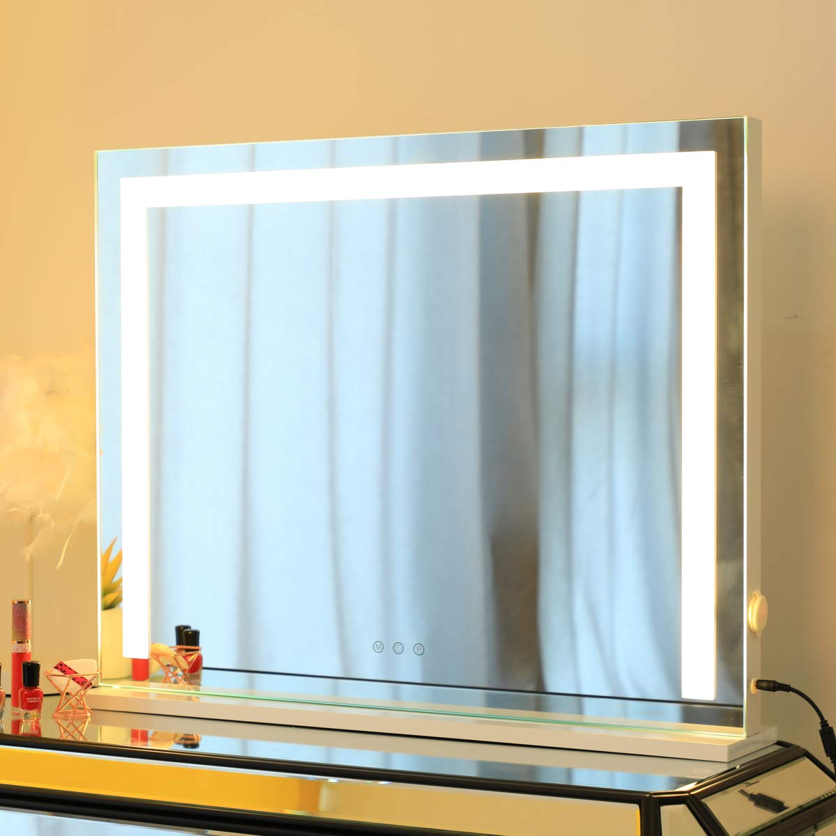 HOMPEN Makeup Mirror with Lights, Lighted Vanity Mirror, Table Top Lighted Beauty Mirror