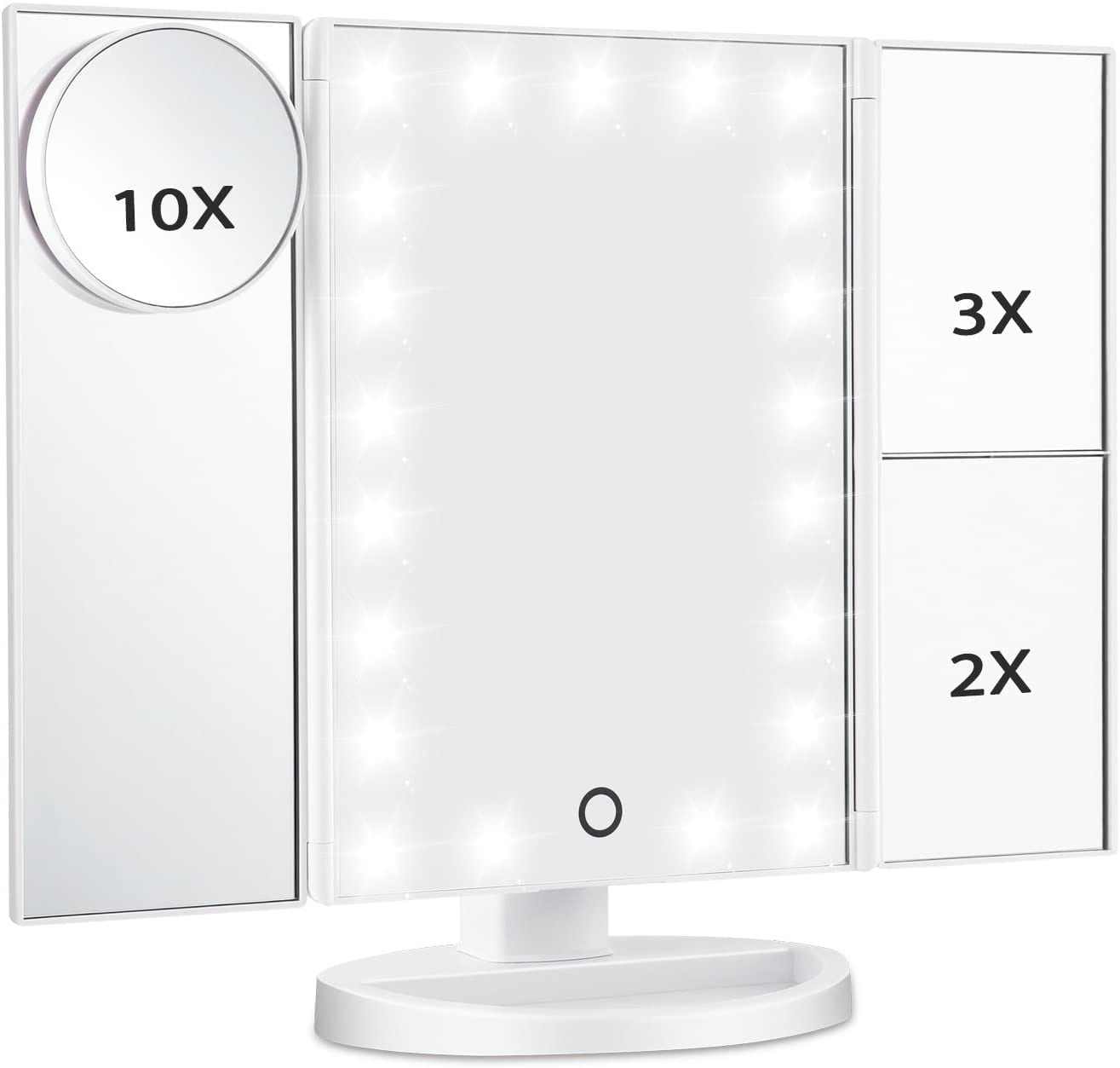 Magicfly Vanity Mirror Lighted Makeup Mirror 10X 3X 2X 1X Magnifying Mirror with 21 LED Lights, Trifold Mirror with Touch Screen, Adjustable Brightness & Stand, Dual Power Supply Mode, White