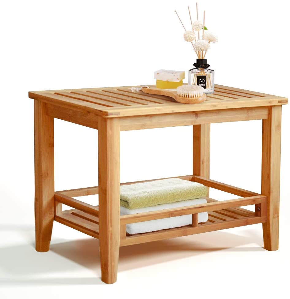 RANDEFURN Bamboo Shower Stool with Shelf