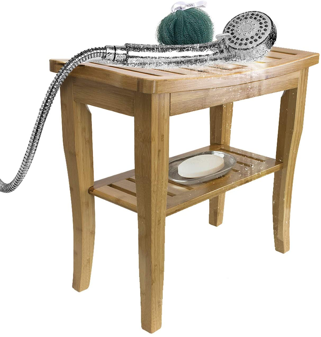 Sorbus Bamboo Shower Bench Stool with Shelf