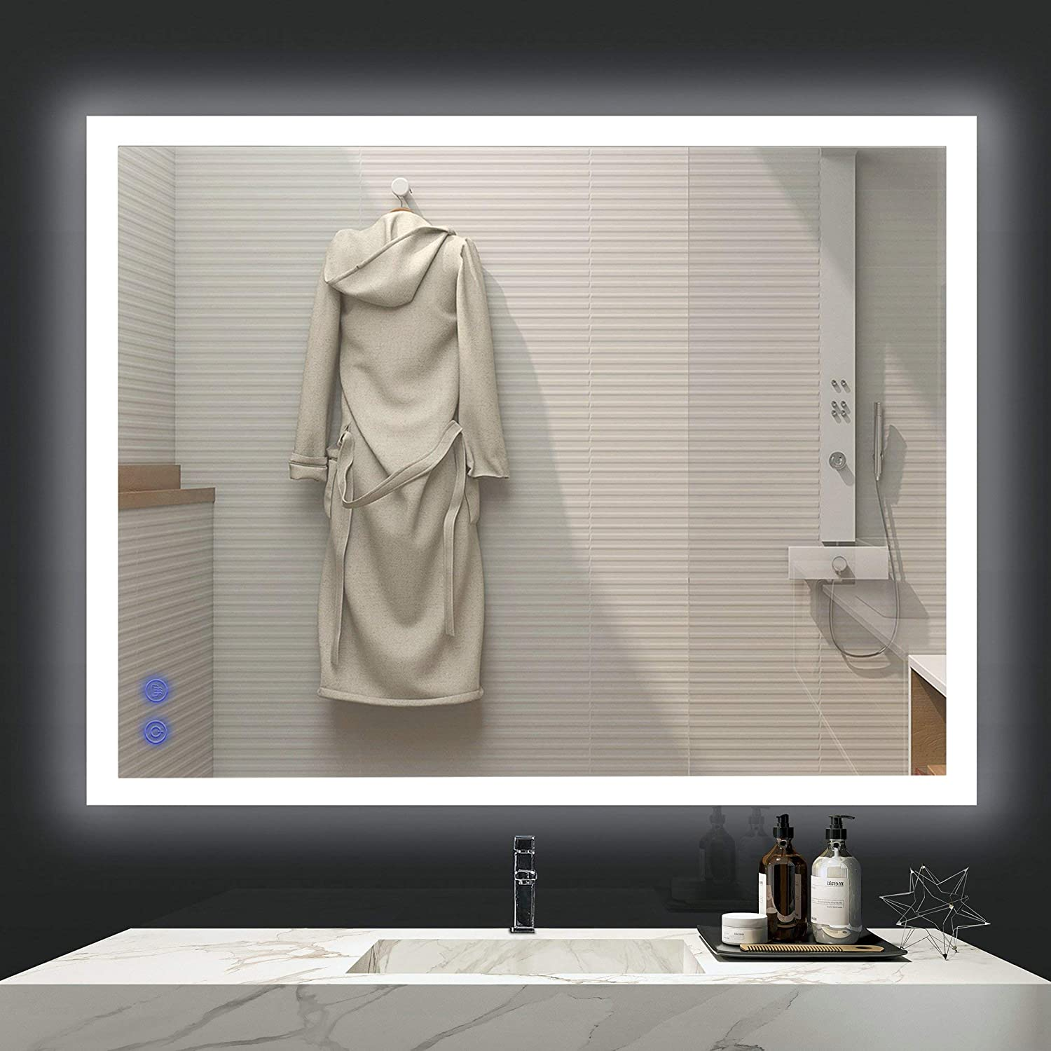 VENETIO 36 x 28 Inch LED Lighted Mirror for Bathroom Vanity Wall Mounted Frameless Makeup Mirror